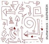 abstract vector arrow. hand... | Shutterstock .eps vector #666964834