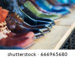 close up on mens leather shoes... | Shutterstock . vector #666965680