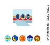 passengers in airplane vector...   Shutterstock .eps vector #666970678