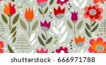 retro floral print with... | Shutterstock .eps vector #666971788