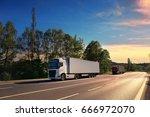 truck transportation | Shutterstock . vector #666972070