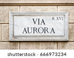 via aurora street sign on the... | Shutterstock . vector #666973234