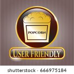 shiny badge with popcorn icon... | Shutterstock .eps vector #666975184