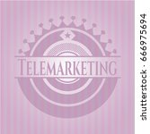 telemarketing badge with pink... | Shutterstock .eps vector #666975694
