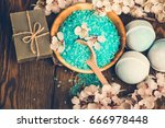 spa bath cosmetic and flower... | Shutterstock . vector #666978448