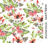 bright beautiful watercolor... | Shutterstock . vector #666978844