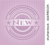 new badge with pink background | Shutterstock .eps vector #666980104