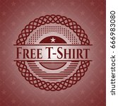 free t shirt badge with red... | Shutterstock .eps vector #666983080