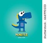 vector cartoon funny blue... | Shutterstock .eps vector #666990103