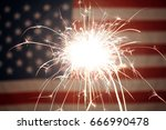 usa american flag lit up by... | Shutterstock . vector #666990478