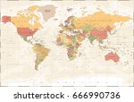 vintage world map   detailed... | Shutterstock .eps vector #666990736