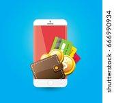 vector digital mobile wallet... | Shutterstock .eps vector #666990934