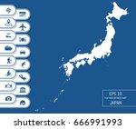 flat high detailed japan map.... | Shutterstock .eps vector #666991993
