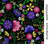 embroidery seamless pattern... | Shutterstock .eps vector #666995503