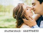 happy bride and groom spending... | Shutterstock . vector #666996850