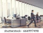 side view of business people in ... | Shutterstock . vector #666997498