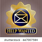 gold badge with envelope icon... | Shutterstock .eps vector #667007584