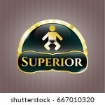 golden badge with baby icon... | Shutterstock .eps vector #667010320