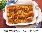 roasted potatoes with garlic ... | Shutterstock . vector #667014439