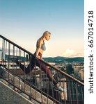 attractive blonde woman doing... | Shutterstock . vector #667014718