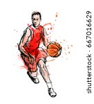 colored hand sketch basketball...   Shutterstock .eps vector #667016629