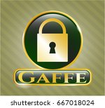 shiny badge with closed lock... | Shutterstock .eps vector #667018024