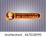 golden badge with ribbon icon... | Shutterstock .eps vector #667018090
