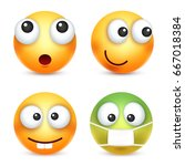 smiley emoticon set. yellow... | Shutterstock .eps vector #667018384