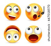 smiley emoticon set. yellow... | Shutterstock .eps vector #667018570