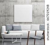 mock up poster in living room ...   Shutterstock . vector #667019248