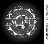 amateur on grey camo texture | Shutterstock .eps vector #667019920