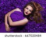 the girl in the petals.... | Shutterstock . vector #667020484