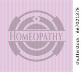 homeopathy badge with pink... | Shutterstock .eps vector #667021378