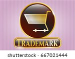 gold badge with shopping cart... | Shutterstock .eps vector #667021444