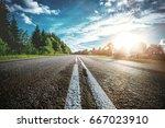 sunrise beautiful road in... | Shutterstock . vector #667023910