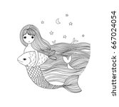 beautiful little mermaid and... | Shutterstock .eps vector #667024054