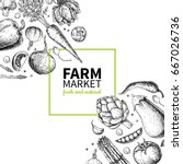 vegetable hand drawn vintage... | Shutterstock .eps vector #667026736