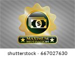 gold badge with money icon and ... | Shutterstock .eps vector #667027630