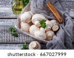 raw fresh mushroom in basket.... | Shutterstock . vector #667027999