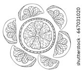 adult coloring page book an... | Shutterstock .eps vector #667031020