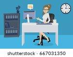 girl in office  desk clerk with ...   Shutterstock .eps vector #667031350
