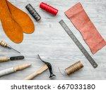 work desk of clobber. skin and... | Shutterstock . vector #667033180