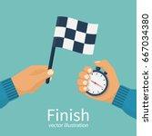 finish concept. man holding... | Shutterstock .eps vector #667034380