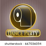 gold badge or emblem with... | Shutterstock .eps vector #667036054