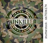 painkiller on camo pattern | Shutterstock .eps vector #667036174