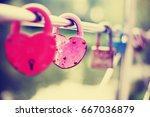 Rusty Pink Love Lock With A...
