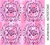 rose and vine pattern on pink... | Shutterstock .eps vector #667037260