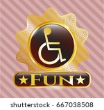 gold badge or emblem with... | Shutterstock .eps vector #667038508
