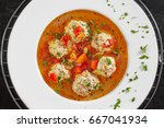 top view of plate with... | Shutterstock . vector #667041934