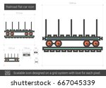 railroad flat car vector line... | Shutterstock .eps vector #667045339